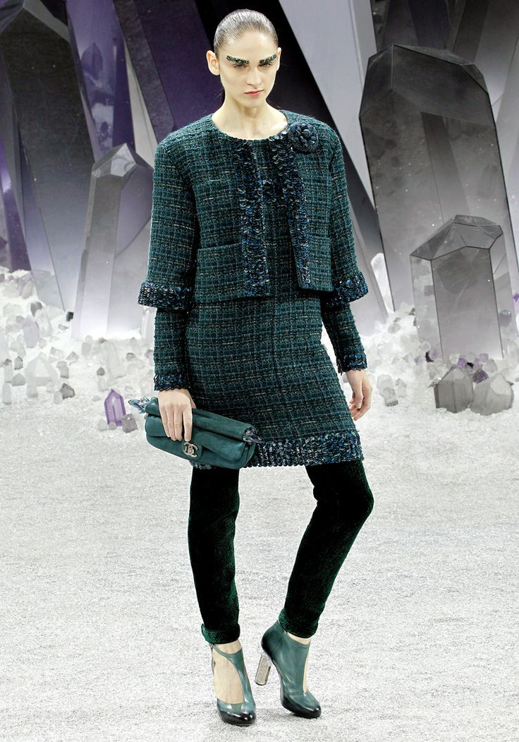 CHANEL RTW FALL2012  I chose this look for a few reasons. A. Pants that hit right above the ankle will continue through the fall.  And not only can they be paired alone, but also under skirts, as Lagerfeld did. B. Layers are in. and C. This is still a very classic Chanel look- tweed jacket/skirt combo:)