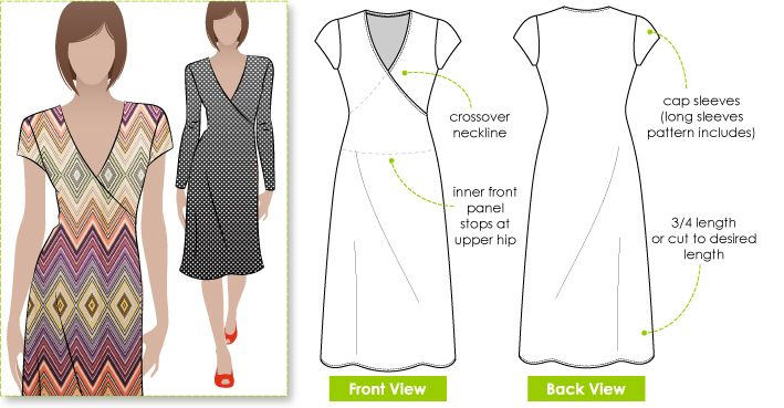 Cross-over neck dress sewing pattern