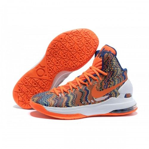 Nike New KD 5 V Basketball Shoes New Graphic Pattern Orange White Blue