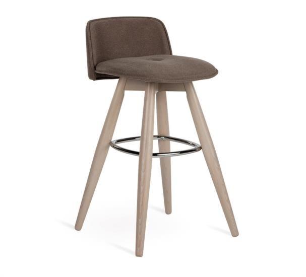 Sgabello in legno con poggiapiedi metallico e seduta in ecopelle o tessuto