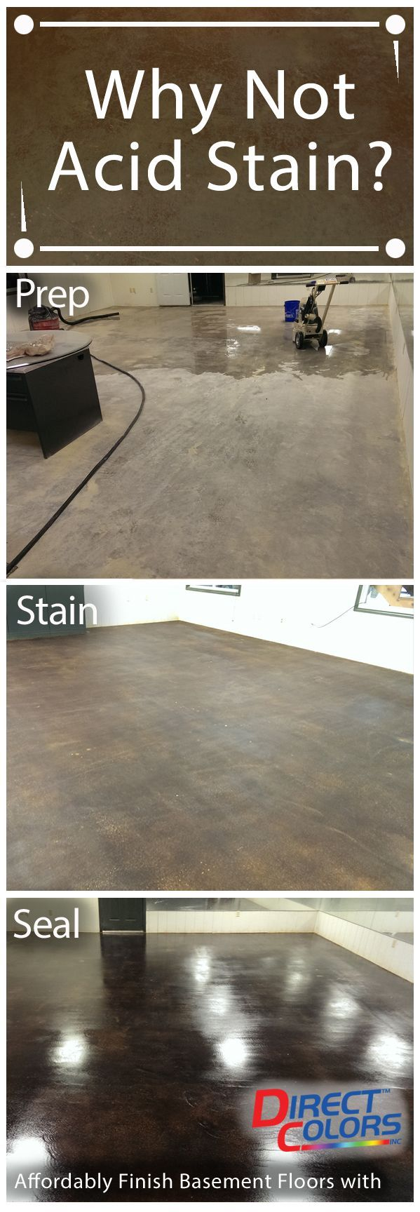 Acid Staining Basement Floors is both an affordable and unique option for homeowners. Do it yourself or hire a contractor. You'll be glad you did for the easy maintenance, cleaning and just spectacular look! Direct Colors has the how-to info, technical support and quality products you need to get started today!