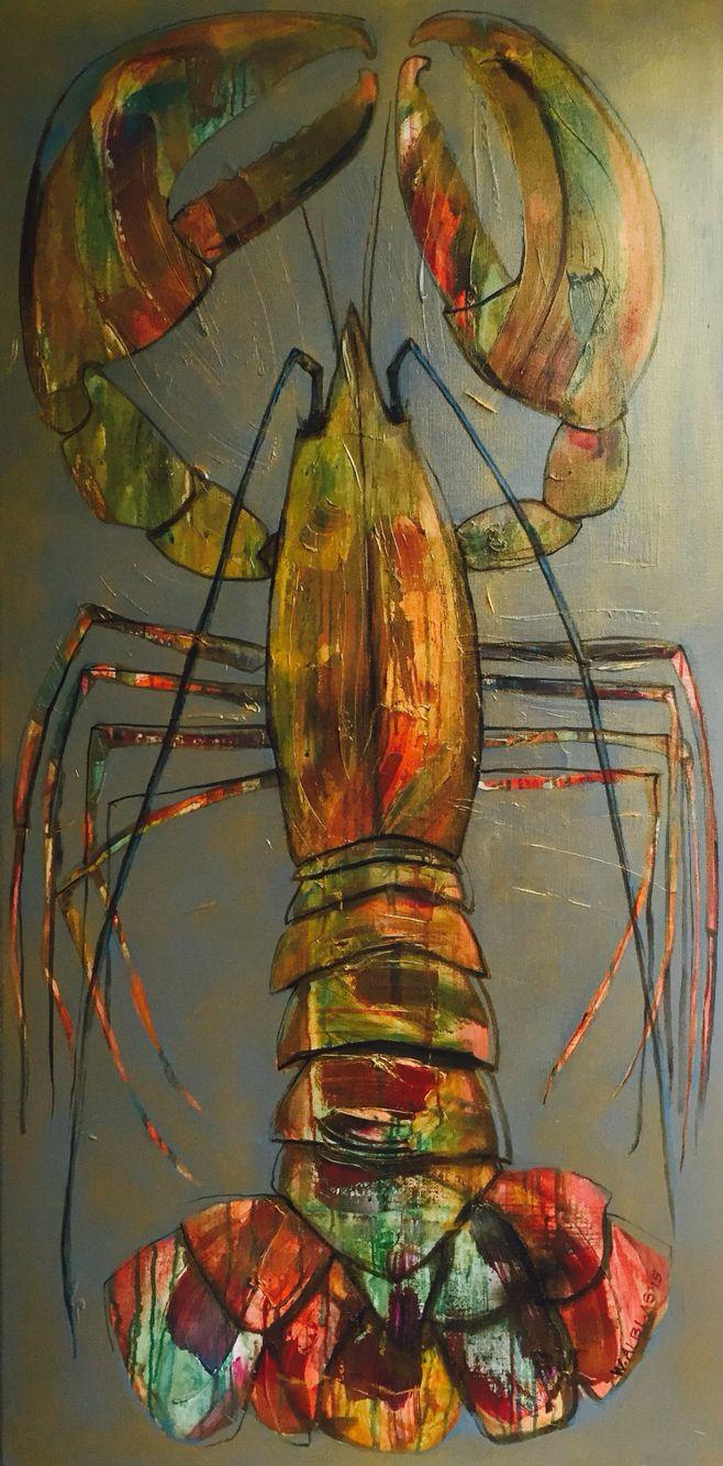 Golden Lobster, sold Wendy Alblas Kreeft Lobster art