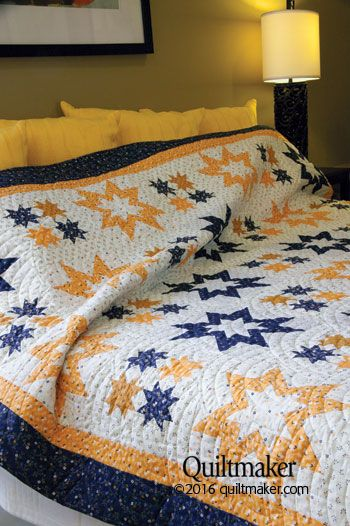 Blue Cheese Night quilt pattern: Traditional stars collide in this queen-size stunner designed by Diane Harris.