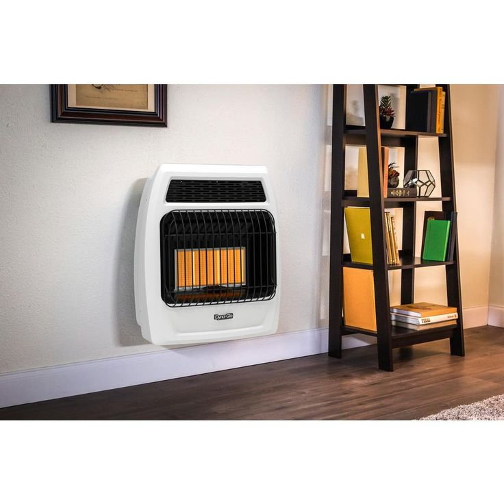 18,000 BTU Natural Gas Infrared Vent Free Thermostatic Wall Heater, White/Black