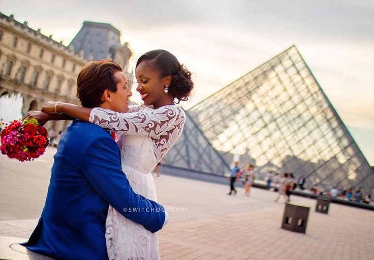Beautiful interracial couple wedding photography at the Louvre Museum in Paris #love #wmbw #bwwm #swirl