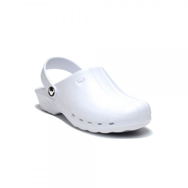White Suecos Nurse Clogs  Comfortable and practical, the Oden shoe is great as it is made of material that adapts to the foot. It is antibacterial, resistant to hydrocarbon, dissolvent, lactic acid, blood, water, saline water and detergentand shock absorbant. There is an adjustable strap at the back that can be worn up or down, a non-slip, non-marking sole and insole nubs that stimulate blood flow. For only £29.99    #nursesshoes #nursesclogs #dentalshoes #dentalclogs #shoes #clogs