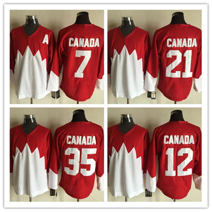 New Stitched red 7 PHIL ESPOSITO 12 YVAN COURNOYER 21 STAN MIKITA 35 TONY ESPOSITO Team Canada 1972 Throwback Ice Hockey Jerseys