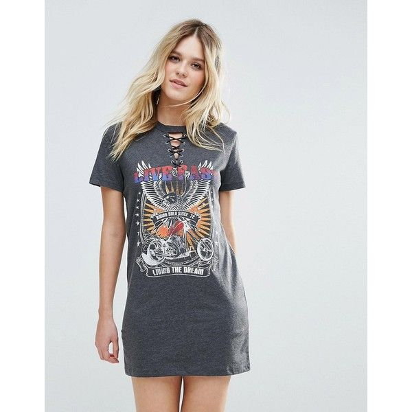 Brave Soul Graphic Band T-Shirt Dress (31 CAD) ❤ liked on Polyvore featuring dresses, grey, t-shirt dresses, lace front dress, lace up dress, tee shirt dress and graphic dress