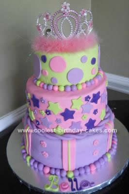 "Homemade Princess Cake - Bridget likes the cake, not the colors.  She likes the stars and the ""necklaces"" around the layers."