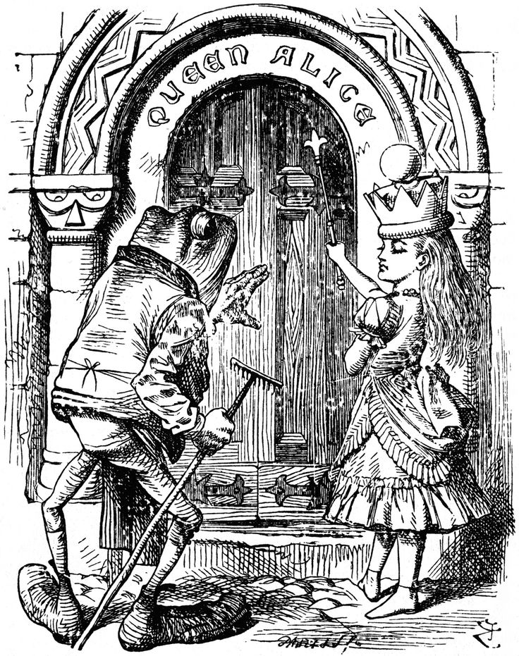 "Queen Alice & frog at door in Lewis Carroll's ""Through the Looking Glass."" Illustration by artist John Tenniel."