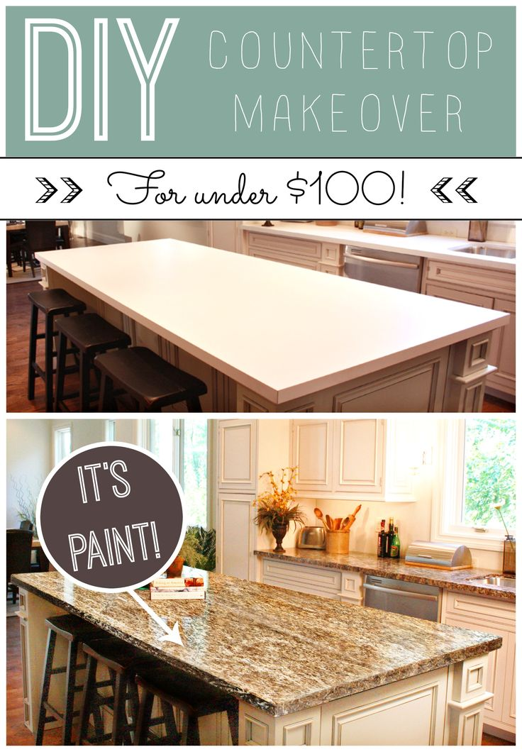 Kitchen update on a budget! Countertop paint that looks like granite.  DIY for under $100! www.gianigranite.com