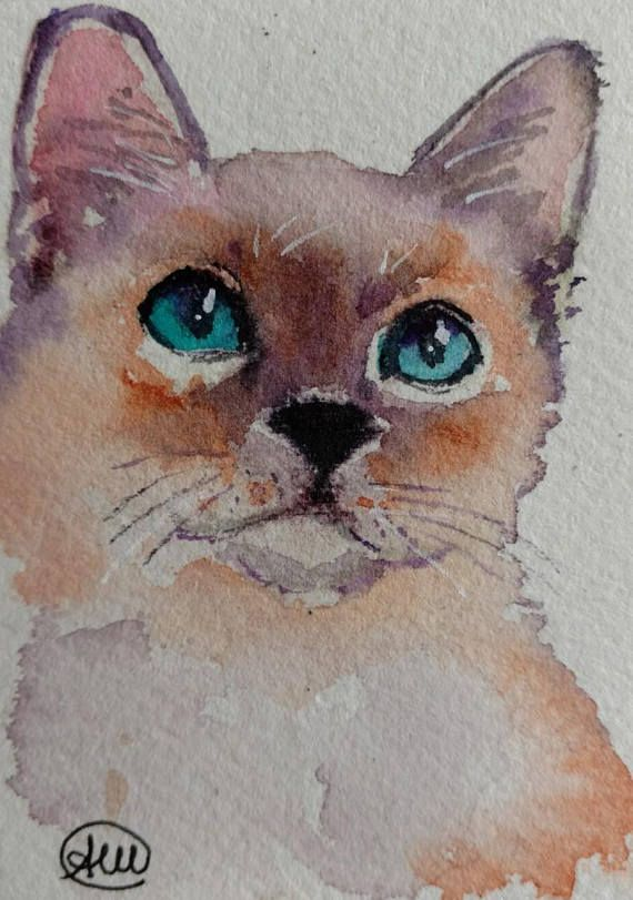 ORIGINAL WATERCOLOR PAINTING ACEO card SIAMESE KITTEN CAT unframed and signed by me COLLECTABLE ACEO Watercolor painting on paper 140 lb size 2.5 x 3.5 inches 6.5 x 9 centimeters worldwide shipping