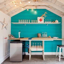 32 best bar shed images on pinterest decks backyard for Surfboard bar top ideas