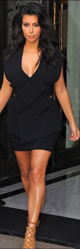 Who made  Kim Kardashiana??s black bow dress and tan suede lace up sandals that she wore in Paris | See more about Lace Up Sandals, Kim Kardashian and Bow Dresses.