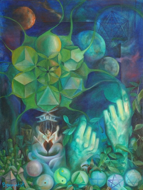 """""""Sacred Geometree"""" a green oil painting done by visionary artist, Bonny Hut. A surreal tree containing the plutonic solids of sacred geometry (which pertain to air, fire, water, earth and void), with numbers, hands and metatrons cube in the background. Sacred geometry is supposedly the mathematic frequency signatures by which the universe creates things out of """"the everything and nothing"""" cosmic soup. Not sure if this painting would be considered new age art."""