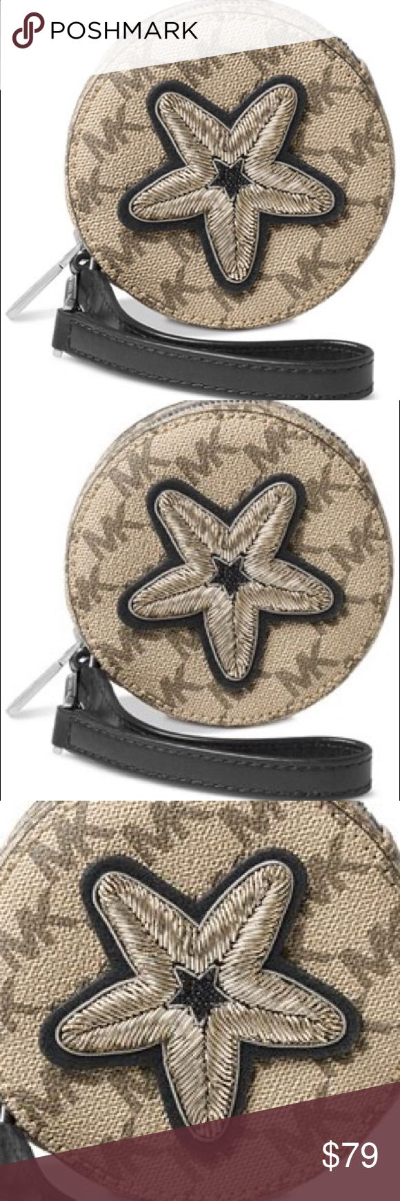 "Michale Kors Star Coin Purse - MSRP $118 Keep your keys, coins and other little treasures together in chic style with MICHAEL Michael Kors' coin purse. •4""W x 4""H x 1/2""D •9-3/4""L strap •Zip closure •Exterior features brushed nickel-tone hardware and star patch Michael Kors Bags Clutches & Wristlets"