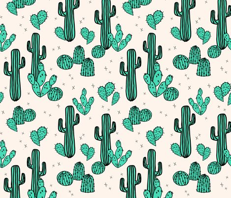 Cactus  Prickly Pears - Light Jade/Champagne - andrea_lauren - Spoonflower