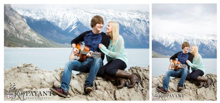Banff Engagement photographer, banff lifestyle photographer, outdoor couple photos, lake minnewanka banff, engagement photos with guitar, www.kimpayantphotography.com