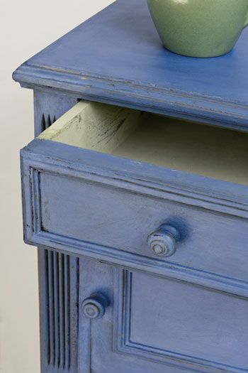 Chalk Paint - Greek Blue  This is a warm blue without any green in it. It is a colour found throughout the Mediterranean, often faded and distressed on shutters and woodwork. It has a chalky look about it yet it is a strong positive colour.