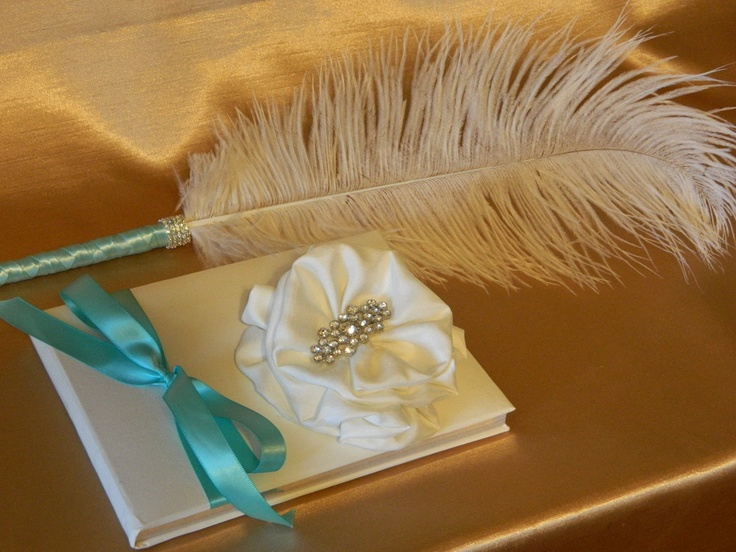 Tiffany Blue Wedding Guest Book, Feather Pen, Triple Wrapped / Rhinestones /  Silk Rose with Bling Brooch Center