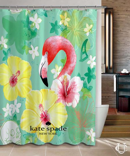 New Hot Flamingo Vintage Kate Spade Shower Curtain cheap and best quality. *100% money back guarantee