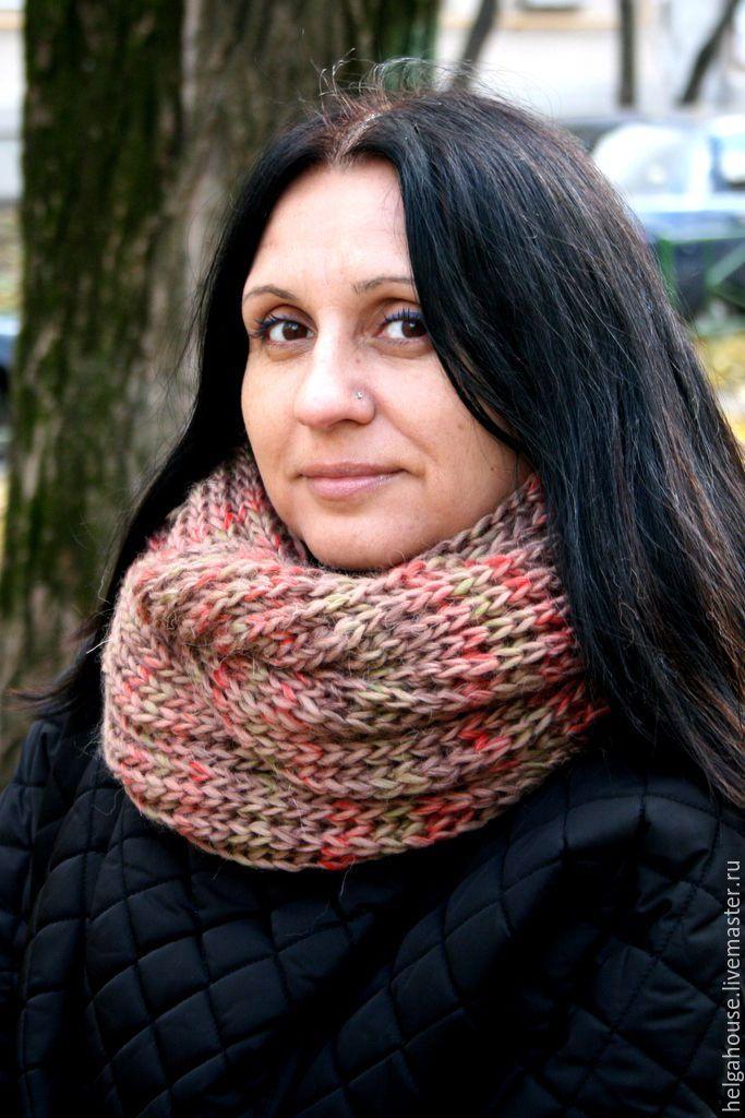 """Купить Снуд, шарф вязаный женский """"Мультиколор (беж)"""" - бежевый, шарф женский, снуд"""