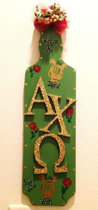 Sorority Paddles | Alpha Chi Omega | Gold and green AXO paddle