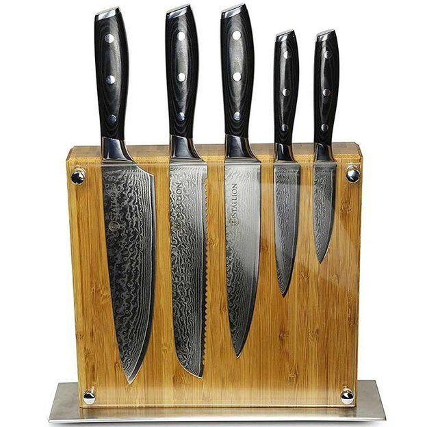 Messerset aus Damaststahl mit Massiv Holzblock