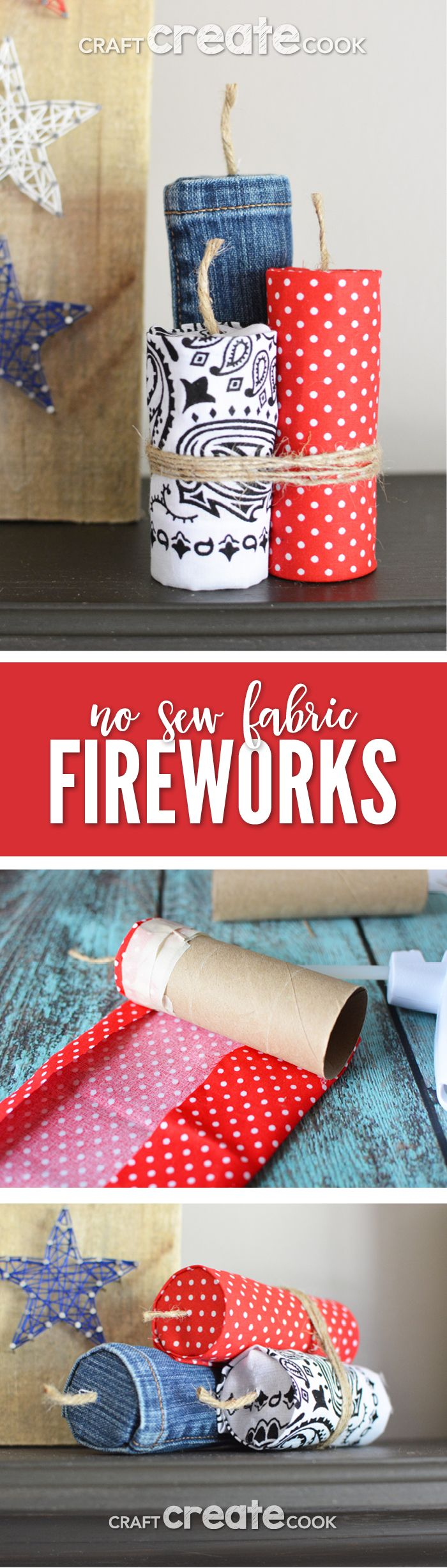 My no sew fabric firework craft is a quick and easy project to add some patriotism to your home decor. via @CraftCreatCook1