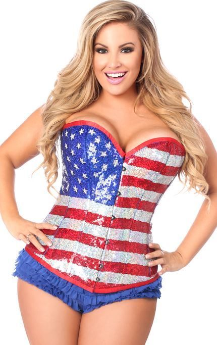 Plus size American Flag Sequins Corset - Red White Blue - Limited ...
