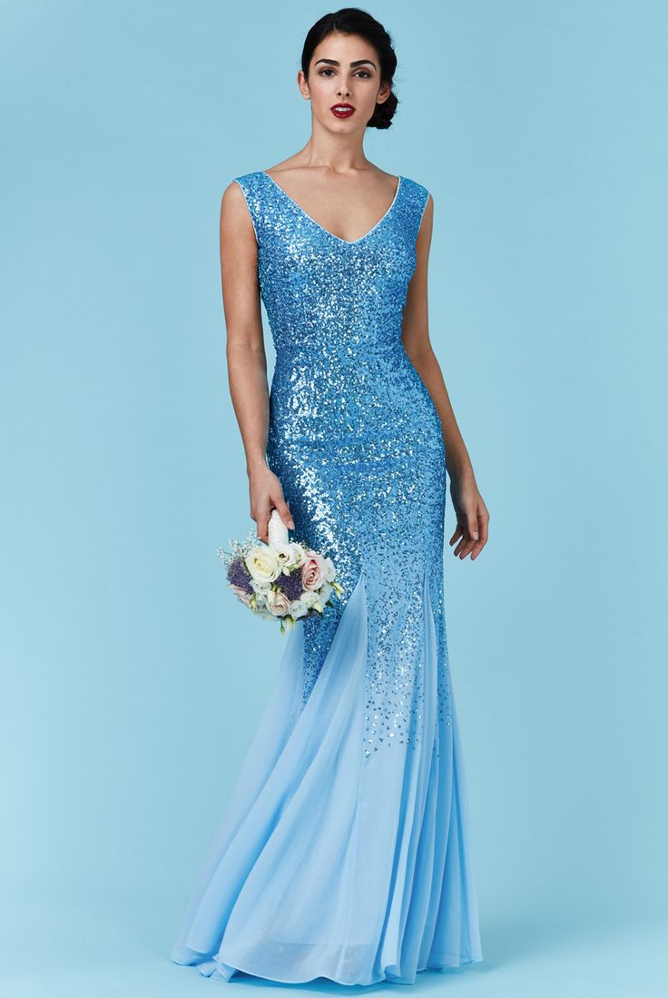 BG4621. March 2017.This stunning blue sequinned and chiffon gown now in store. Many more beatiful gowns to choose from. From very simple to very elaborate we cater for all needs. Purchase or hire.Visit us in Albany.