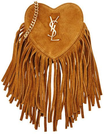 Saint Laurent Monogram Small Zip Top Fringe Heart Bag