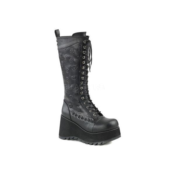 Women's Demonia Scene 107 Lace-Up Knee-High Platform Boot ($92) ❤ liked on Polyvore featuring shoes, boots, knee high boots, black wedge knee high boots, tall black boots, black wedge boots, knee-high boots and knee-high lace-up boots