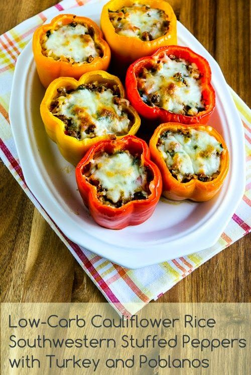 Low Carb Cauliflower Rice Southwestern Stuffed Peppers with Turkey and Poblanos found on KalynsKitchen.com