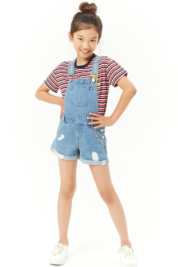 Girls Distressed Denim Overall Shorts Kids Forever 21 Girls