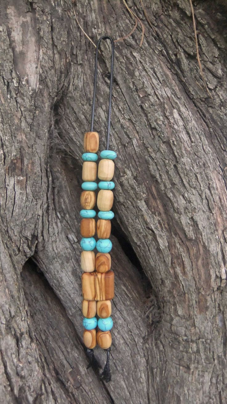 Olive Wood Worry Beads or Komboloi with Turquoise gemstones by ellenisworkshop on Etsy