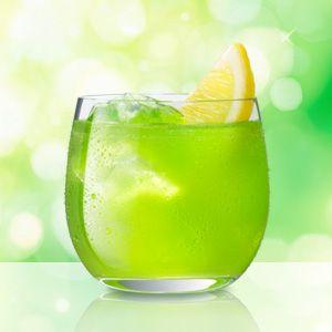 Midori Sour  1 part MIDORI 1 part sour mix lemon wedge for garnish