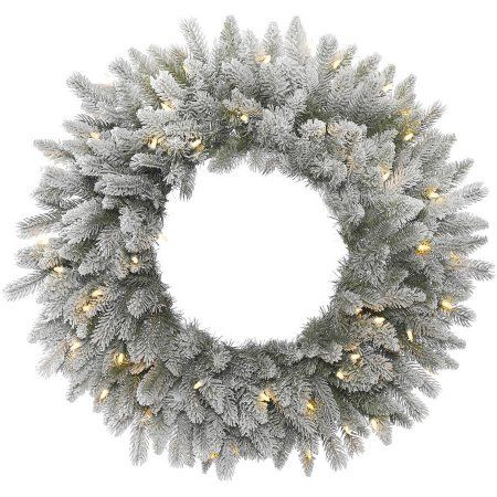 Vickerman 36 inch Frosted Sable Pine Artificial Christmas Wreath with 100 Warm White LED Lights