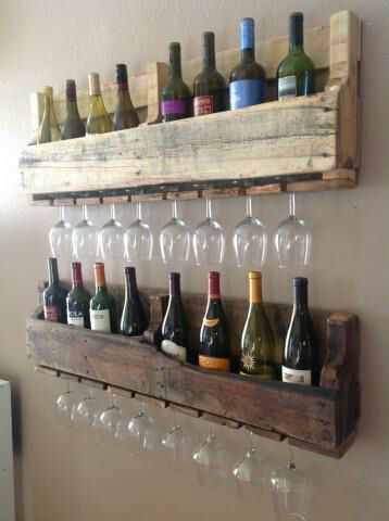 DIY wine storage out of old pallets - even holds wine glasses - a great job of re-purposing!