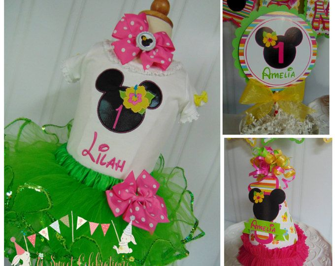 Toper de torta de Minnie Mouse Luau Smash Cake fiesta paquete una silla alta banner cumpleaños sombrero luau