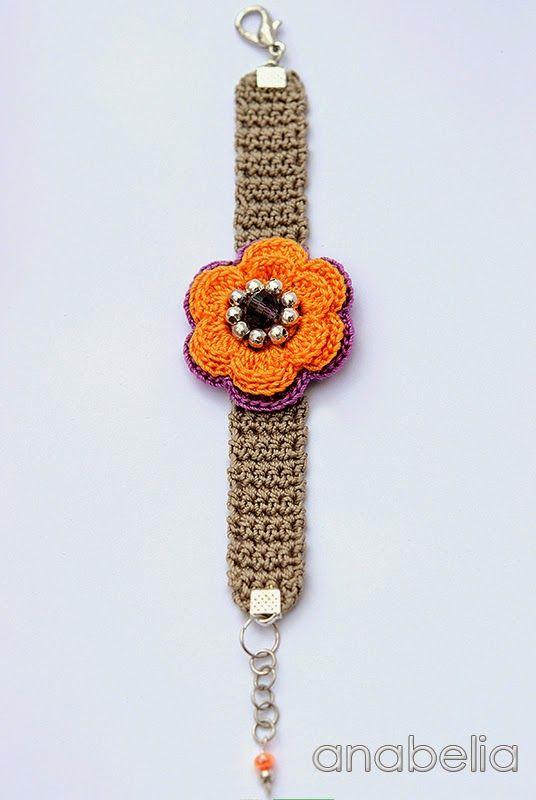 Spring summer crochet bracelet by Anabelia craft design