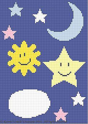 Crochet Pattern - CELESTIAL - Sun/Moon/Cloud/Stars Baby Afghan Pattern *EASY