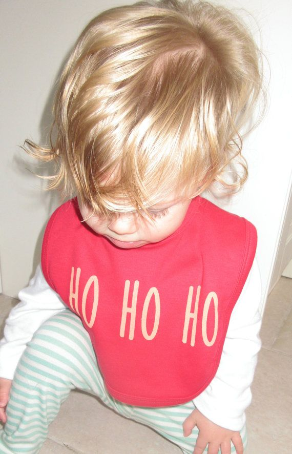 Screen printed 'Ho Ho Ho' Christmas bib by DollyOliveShop on Etsy