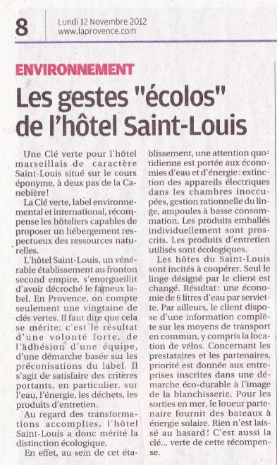 LA PROVENCE 2013 hotel saint louis Marseille