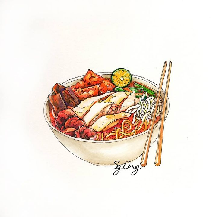 Curry laksa noodle / Hand drawn watercolor painting by Sg Ong. Find out more artworks:https://www.facebook.com/pages/Sg-Ong/1175945569098583