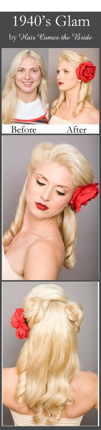 Before and After Bridal Hair and Makeup ~ 1940's Old Hollywood Vintage Glam