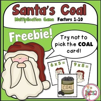 Santa's Coal is a fun Multiplication Game for facts 1-10 with products 1-100. The object of the game is to be the first player to collect 10 cards. But be careful not to draw Santa's Coal! If a player draws this card, they put all cards they are holding back in the can.