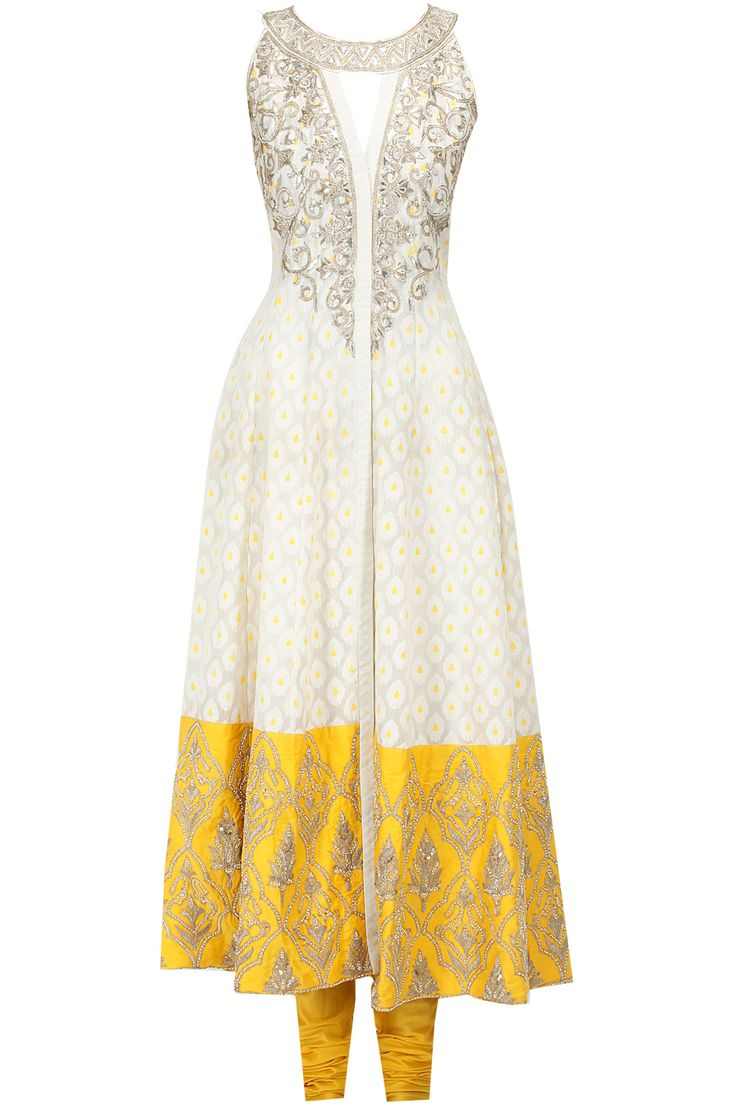 Cream and yellow embroidered kurta set available only at Pernia's Pop-Up Shop.