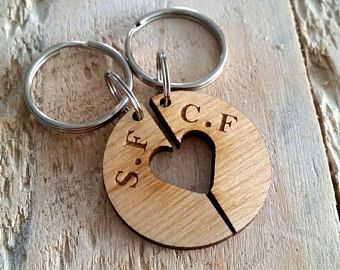 Wedding Gift - Anniversary Gift - Personalised Wooden Keyring - Couple's Gift - 5th Year Wedding Anniversary - Wood Wedding Anniversary