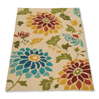 Add warmth to your floor with our Share a Little Sunshine Rug. This hand-hooked arrangement of bursting spicy and cerulean blue flowers on an ivory background will brighten any outdoor room or high-traffic space. Whether indoors or out, this hand-hooked rug will gracefully stand up to nature's most challenging elements.